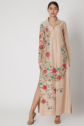 Peach Embroidered Shacket Dress by Rishi & Soujit