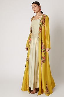 Beige Slip Dress With Yellow Embroidered Jacket by Rishi & Soujit