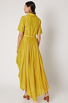 Yellow Embroidered Draped Dress With Belt by Rishi & Soujit