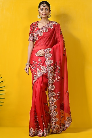 Red Embroidered Saree Set by Rishi & Soujit