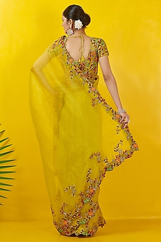 Lime Yellow Embroidered Saree Set by Rishi & Soujit