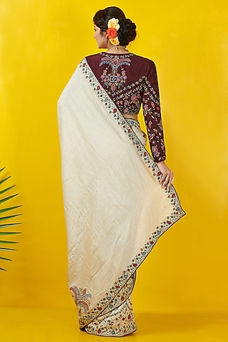Ivory & Wine Embroidered Saree Set by Rishi & Soujit