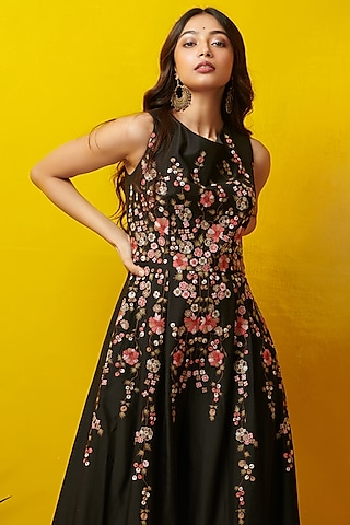 Black Embroidered Maxi Dress by Rishi & Soujit