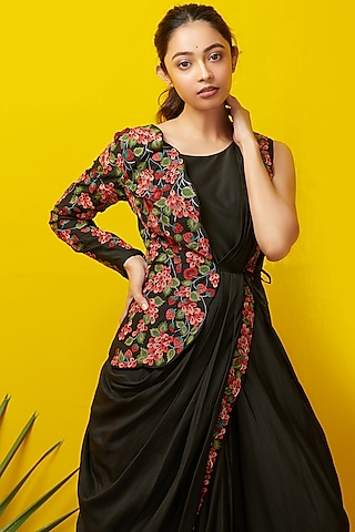 Black Embroidered Maxi Dress With Jacket by Rishi & Soujit