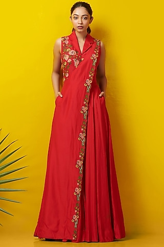 Red Embroidered Jumpsuit by Rishi & Soujit