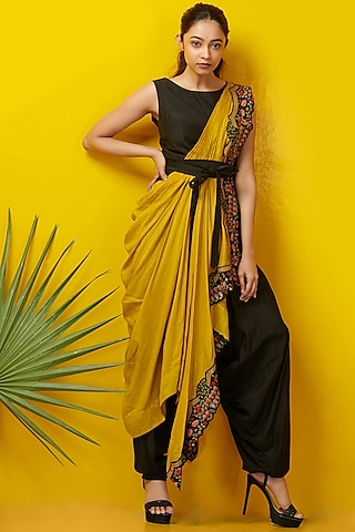Black & Mustard Embroidered Jumpsuit by Rishi & Soujit