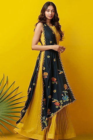 Mustard & Black Embroidered Jumpsuit by Rishi & Soujit