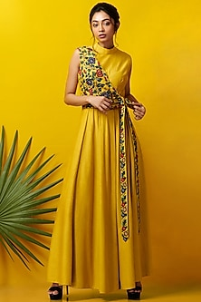 Mustard Embroidered Maxi Dress by Rishi & Soujit