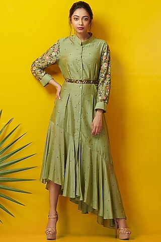 Olive Green Embroidered Asymmetric Dress by Rishi & Soujit