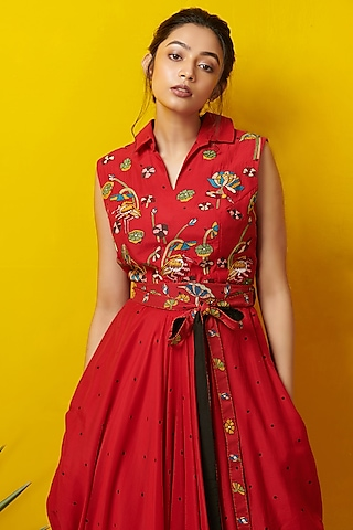 Red Embroidered Maxi Dress by Rishi & Soujit