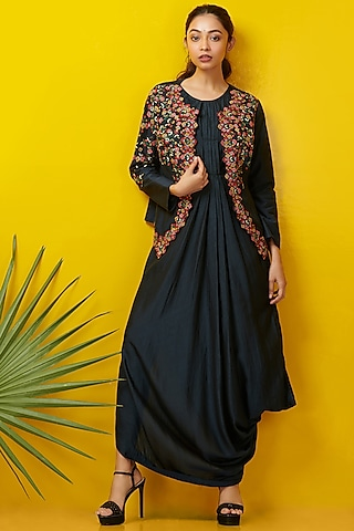 Midnight Blue Embroidered Jacket Set by Rishi & Soujit