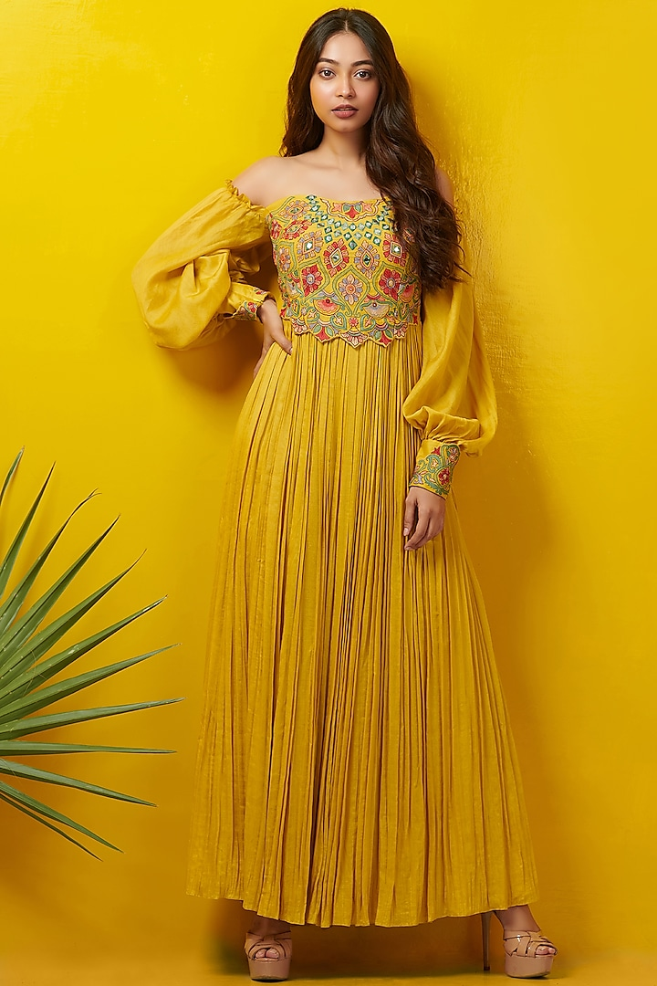 Mustard Embroidered Off Shoulder Dress by Rishi & Soujit