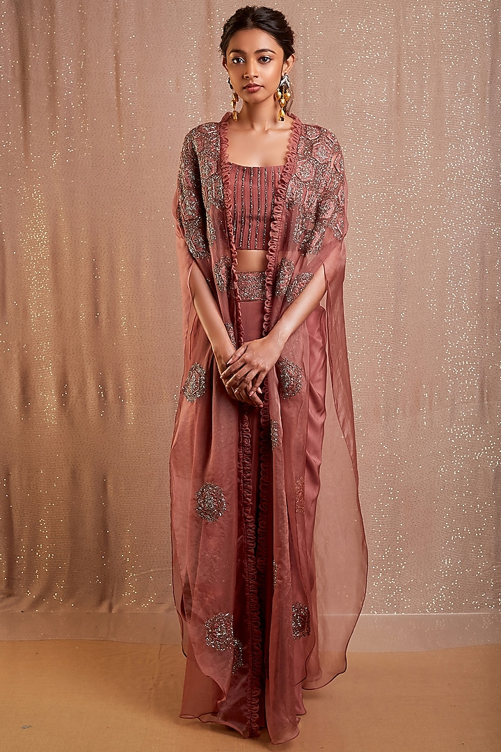 Rust Pink Organza Diffusion Skirt Set by Rishi & Soujit