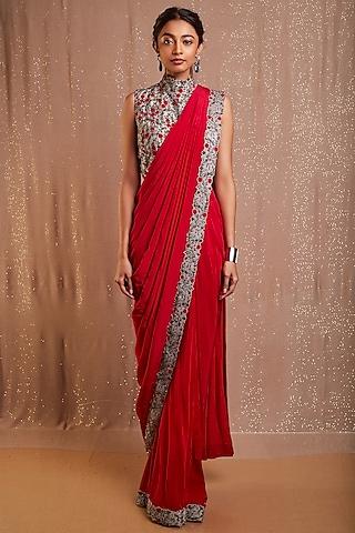 Grey & Fuchsia Pink Embroidered Pre-Draped Saree Set by Rishi & Soujit