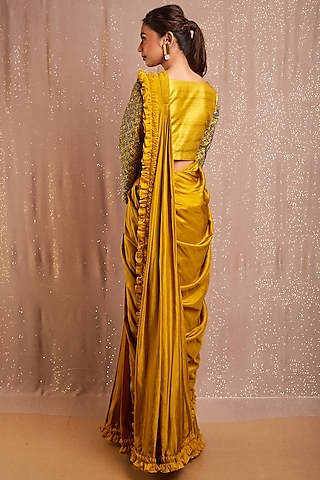 Corn Yellow Embroidered Pre-Stitched Saree by Rishi & Soujit