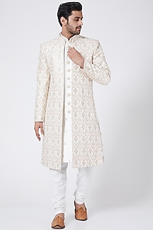 White Embroidered Sherwani Set by RNG Safawala Men