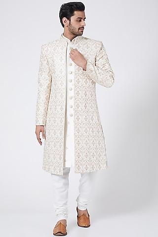 White Embroidered Sherwani Set by RNG Safawala Men