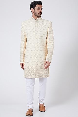 Ivory Chikankari Embroidered Sherwani Set by RNG Safawala Men