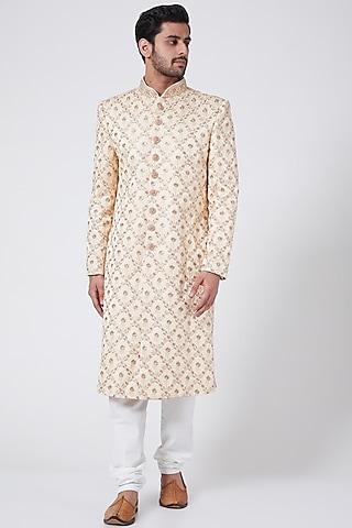 Cream Embroidered Sherwani Set by RNG Safawala Men