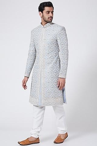 Pigeon Blue Embroidered Sherwani Set by RNG Safawala Men