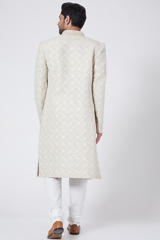 Beige Embroidered Sherwani Set by RNG Safawala Men