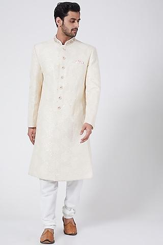 Daisy White Embroidered Sherwani Set by RNG Safawala Men