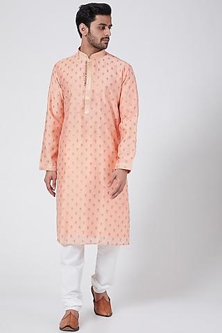 Peach Printed Kurta Set by RNG Safawala Men