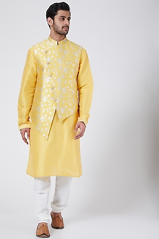 Sunshine Yellow Printed Kurta Set With Jacket by RNG Safawala Men
