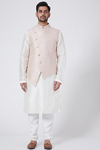 Powder Pink Printed Kurta Set With Jacket by RNG Safawala Men