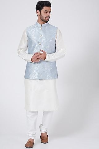 Powder Blue Printed Kurta Set With Jacket by RNG Safawala Men