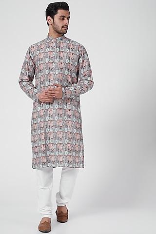 Grey Printed Kurta Set by RNG Safawala Men