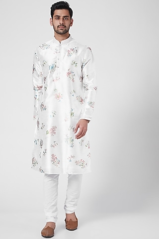 Pearl White Floral Printed Kurta Set by RNG Safawala Men