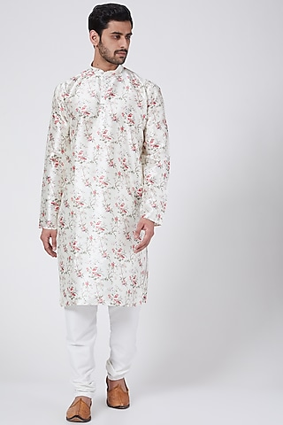 Cream Floral Printed Kurta Set by RNG Safawala Men
