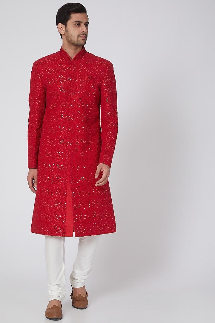 Cherry Red Chikankari Embroidered Sherwani Set by RNG Safawala Men