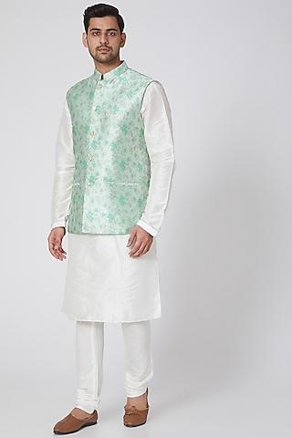 Aqua Green Floral Printed Jacket Set by RNG Safawala Men