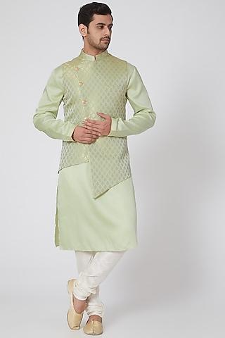 Green Asymmetrical Jacket Set by RNG Safawala Men