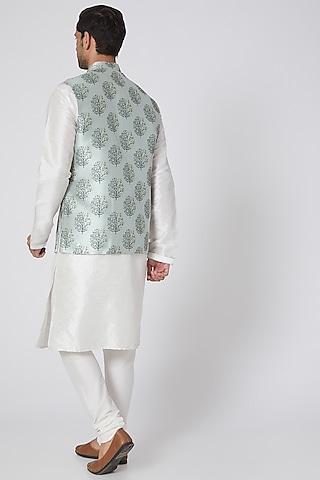 Grey Floral Printed Jacket Set by RNG Safawala Men