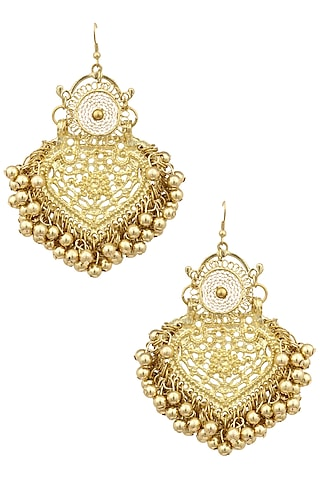 Gold Finish Mini Paan Leaf Ghungroo Earrings by Ritika Sachdeva