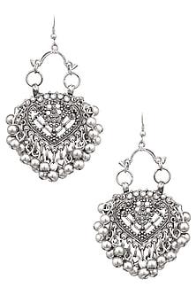 Silver Finish Mini Embossed Paan Ghungroo Earrings by Ritika Sachdeva