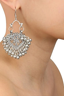 Silver Finish Mini Embossed Paan Ghungroo Earrings by Ritika Sachdeva