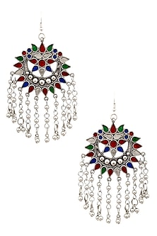 Silver Finish Multicolor Enamel Floral Cutwork Tassel Earrings by Ritika Sachdeva