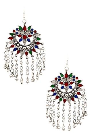 Silver Finish Multicolor Enamel Floral Cutwork Tassel Earrings by Ritika Sachdeva