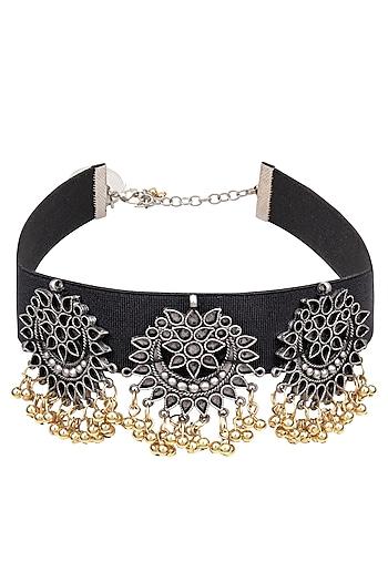 Silver Finish Triple Floral Cutwork Pendant Choker Necklace by Ritika Sachdeva