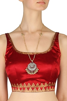 Gold Finish Floral Cutwork silver Pendant Long Chain Necklace. by Ritika Sachdeva
