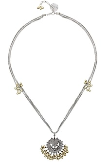 Silver Finish Floral Cutwork Pendant Triple Chains Necklace by Ritika Sachdeva
