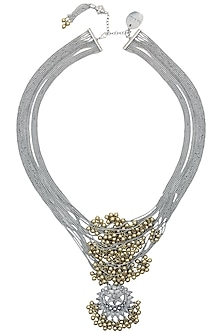 Silver Finish Floral Cutwork Pendant Multi Chains Necklace by Ritika Sachdeva