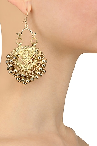 Gold Finish Embossed Paan Motif Earrings by Ritika Sachdeva