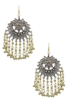 Silver Finish Floral Cutwork Gold Tassels Earrings by Ritika Sachdeva