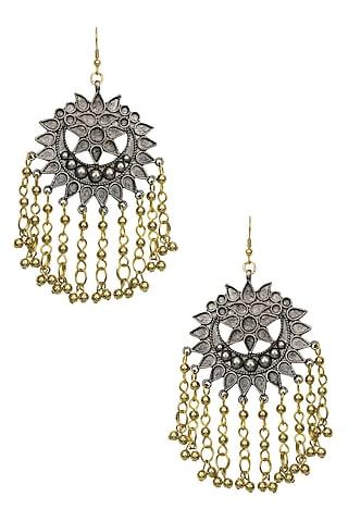 Silver Finish Floral Cutwork Gold Tassels Earrings by Ritika Sachdeva