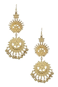 Gold Finish Double Cutwork Earrings by Ritika Sachdeva